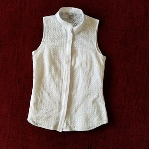 Sleeveless blouse, white cotton eyelet